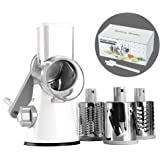 Cambom Manual Rotary Cheese Graters Round Mandoline Slicer Cheese Shredder Vegetable Slicer Walnuts Grinder with Strong-Hold