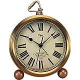 Justup Golden Table Clock, Retro Vintage Non-Ticking Table Desk Alarm Clock Battery Operated Silent Quartz Movement HD Glass