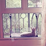 LS 猫ハンモック 猫窓 ベッド 窓台ハンモック 猫ベッド 猫ちゃんハンモック 1階式 窓取り付けタイプ 吸盤ハンモック (単層, コーヒー色)