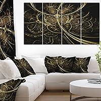"""DesignArtゴールドメタリックファブリックパターンデジタルアートキャンバス印刷 48x28"""" - 4 Equal Panels PT7270-271"""