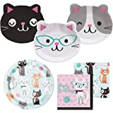 Cat Themed Dessert and Lunch Plates, and Lunch and Beverage Napkins Bundle - Paper Goods