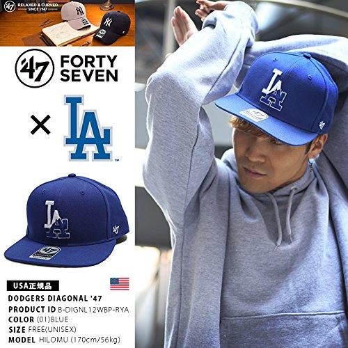 【B-DIGNL12WBP-RYA】 フォーティーセブンブランド 47BRAND キャップ ロサンゼルス ドジャース コラボ CAP 帽子 MLB 正規品 (01)青 Fサイズ(男女兼用)