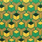 毘沙門亀甲 緑×橙 NBK 生地 布 グリーン×オレンジ コスプレ 巾約112cm×50cm切売カット IBK99078-5A-50CM