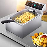 Electric Deep Fryer with Basket 10L / 20L Countertop Commercial Large Tank Stainless Steel French Fries Fryer Temperature Con