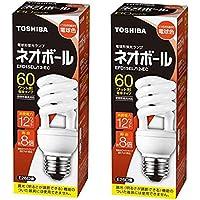 【2個セット】東芝 電球形蛍光ランプ ネオボール60WタイプD形 3波長形電球色 EFD15EL/12-EC 口金直径26mm