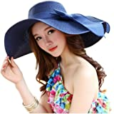 Sun Beach Hat Summer Women's Floppy Wide Brim Braided Sunday Afternoons Hat -Foldable with Wind Lanyard