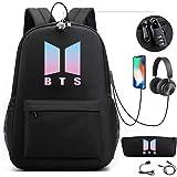 AliKpop USB BTS Theft Proof Bookbag Travel Backpack Jimin Suga Jin Taehyung V Jungkook Korean Casual Backpack Daypack Laptop