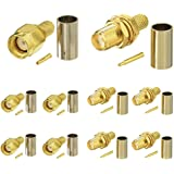 SUPERBAT RPSMA Crimp Connectors Kit RP-SMA Male + RP-SMA Female Crimp Solder Attachment Connectors Kit RG58 RG303 RG141 RG142