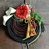 しめ縄 アーティフィシャルフラワー ブラック 竹 リース お正月飾り 神戸よりハンドメイド プレミアム