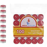 Mega Candles 100 pcs Unscented Red Tea Lights Candle, Pressed Wax Candles 3.5 Hour Burn Time, for Home Décor, Wedding Recepti