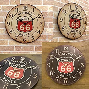 Route66 ヴィンテージ風 レジェクション カフェ クロック 【ホワイト】 ルート66 グッズ 時計 掛け時計 ウォールクロック グッズ アメリカン雑貨 アメリカ 雑貨
