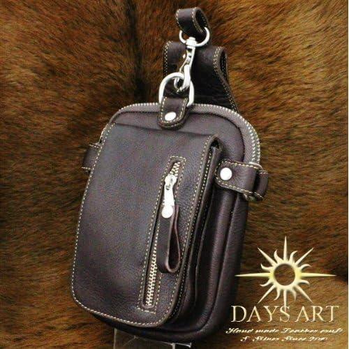Days Art(デイズアート)牛革 長財布入れ レザーバッグ レザーヒップバッグ ウエストバッグ ダークブラウン