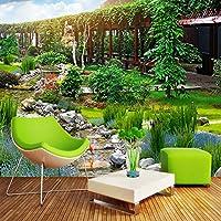 Ljjlm 壁紙3Dステレオパーク自然風景写真壁の壁画リビングルームの寝室の背景壁の絵画家の装飾-350X230CM