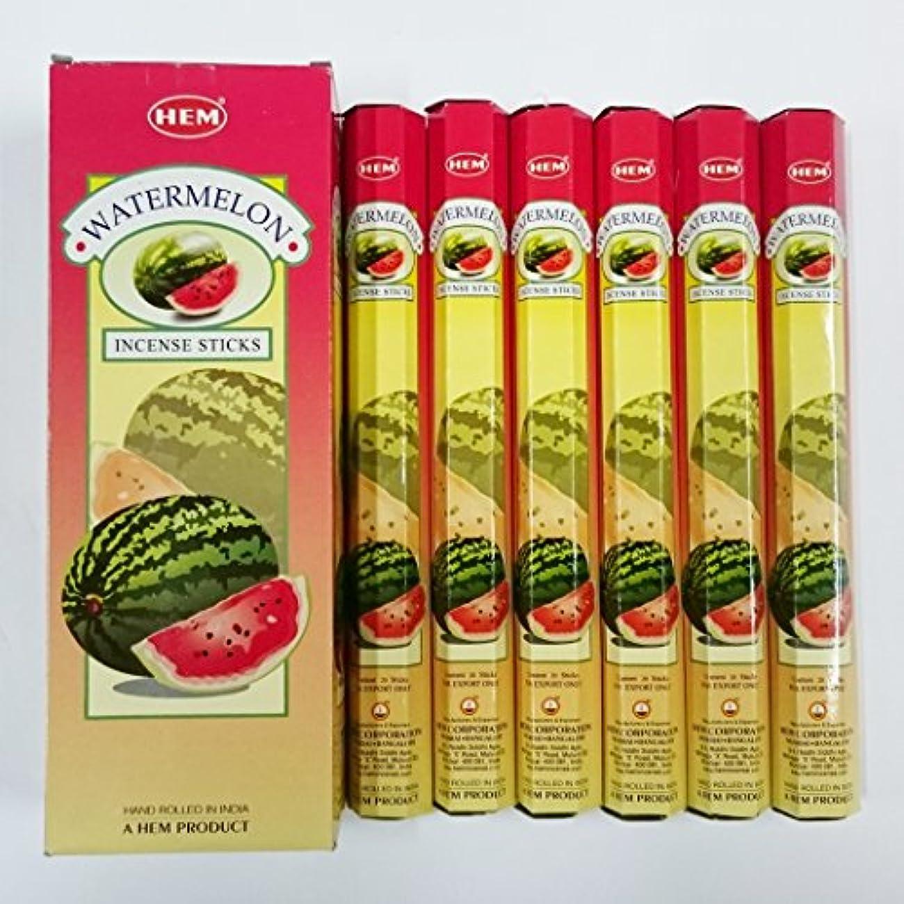 お母さん縁の量HEM (ヘム) インセンス スティック へキサパック ウォーターメロン(スイカ)香 6角(20本入)×6箱 [並行輸入品]Water melon