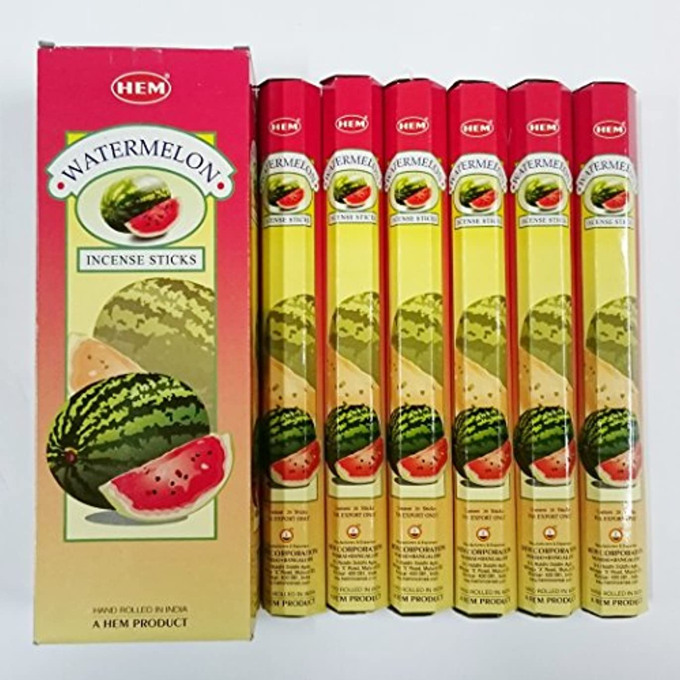 ダイアクリティカル折マイクロフォンHEM (ヘム) インセンス スティック へキサパック ウォーターメロン(スイカ)香 6角(20本入)×6箱 [並行輸入品]Water melon