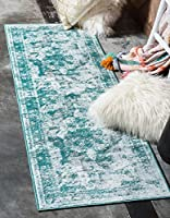 Unique Loom Sofia Collection Traditional Vintage Turquoise Runner Rug (2' x 10') [並行輸入品]
