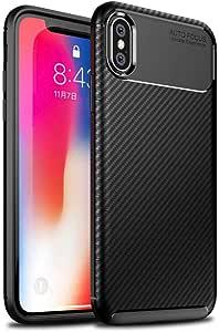 【FINON】 スマホケース iPhone X/XS 5.8インチ 専用 ケース カバー 【 カーボン デザイン (素材/TPU) 】 指紋防止 薄型 軽量 耐衝撃 簡易脱着 ソフトケース カラー:ブラック