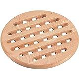 パール金属 木製 鍋敷き 丸型 フレア H-3658