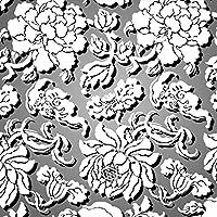 ポスター ウォールステッカー 正方形 シール式ステッカー 飾り 60×60cm Msize 壁 インテリア おしゃれ 剥がせる wall sticker poster フラワー 花 フラワー 灰色 模様 007307
