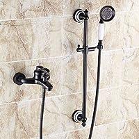 LJ ブラックアンティークフル銅シャワーセットヨーロピアンスタイルミキシングバルブバスタブ蛇口 (サイズ さいず : B)