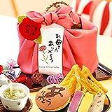 母の日 人気スイーツと和菓子のギフトセット(編み籠入り風呂敷包)ピンク風呂敷
