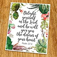 Psalm 37:4 Delight yourself in the Lord Print (Unframed) Watercolor Flower Scripture Art Bible Verse Print Christian Wall Art Word of Wisdom Inspiration Quote 8x10 TC-057 [並行輸入品]