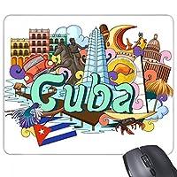 グアンタナモトリニダード島キューバの落書き 長方形のノンスリップゴムパッドのゲームマウスパッドプレゼント