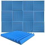 新しい 12 ピース 500 x 500 x 50 mm 吸音材 ウェッジ 防音 吸音材質ポリウレタン SD1134 (青)