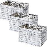 山善(YAMAZEN) どこでも収納ボックス 3個セット カラーボックス対応 ホワイトブリック YTCT-3P(WHR)