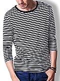 FTELA(フテラ) メンズ レディース ユニセックス カットソー Tシャツ 7分袖 Uネック 丸首 ボーダー スリム 春 夏 ブラック L
