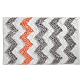 (90cm by 50cm, Light Gray and Coral) - InterDesign Microfiber Chevron Rug, 90cm by 50cm, Light Grey/Coral