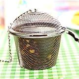 Ruier-tong 茶葉ストレーナー ボール茶漉し お茶フィルター ステンレス 茶葉濾過 茶溜めカップ スパイス調味料 お茶 耐熱性 シルバー Large