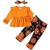Toddler Little Girl Halloween Outfit Ruffle Top Pumpkin Print Pant Headband Set Girls Halloween Clothes