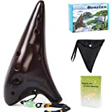Horse Ocarina 12 Tones Alto C with Song Book Display Stand Neck String Neck Cord (Brown)
