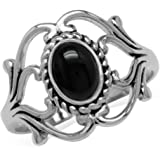 Silvershake Bezel Set Cabochon Gemstone Surrounded by Twisted Rope White Gold Plated 925 Sterling Silver Victorian Style Ring