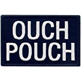 Ouch Pouch Embroidered Patch Tactical Moral Applique Fastener Hook & Loop Emblem, White & Black