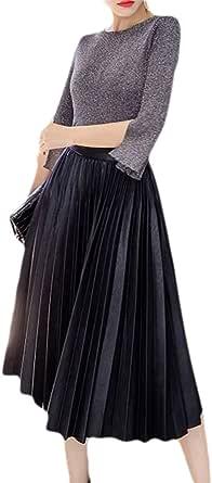 リリカルズ レディース ハイウェストPUレザープリーツスカート スエード調柔らかタッチ 上品 (ブラック,S)
