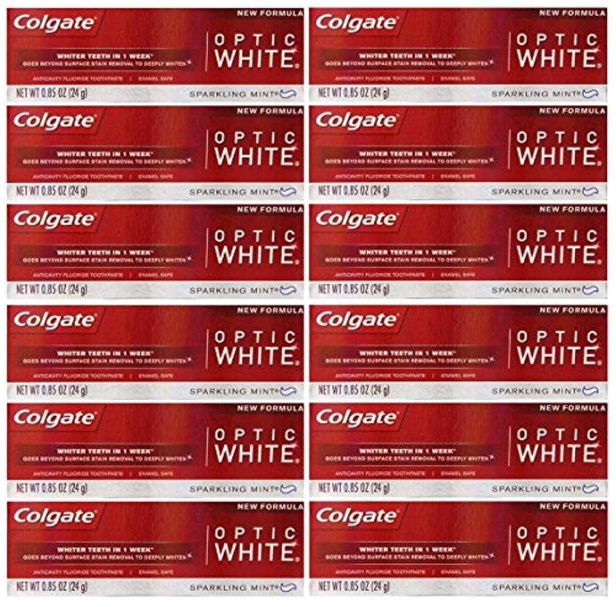 著名な突き出す偏心Colgate 12パック - ハミガキ、スパークリングホワイト、スパークリングミント、トラベルサイズ0.85オンスホワイトニングオプティックホワイト歯