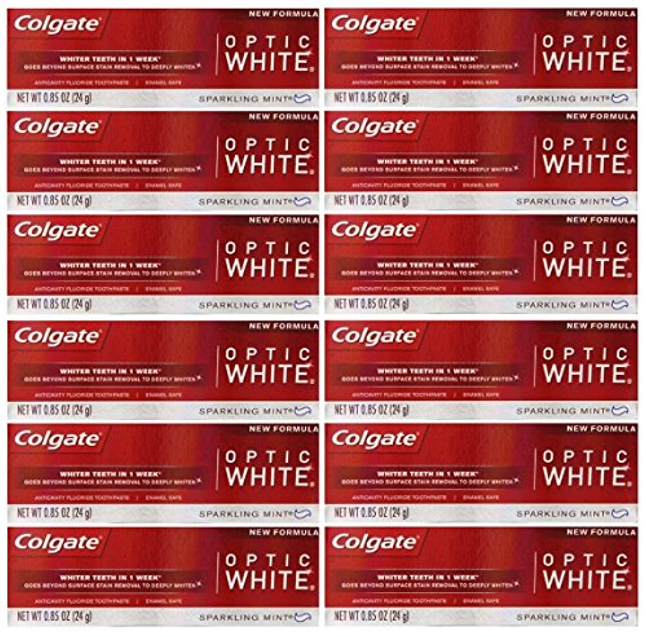 キャロライン狐交換Colgate 12パック - ハミガキ、スパークリングホワイト、スパークリングミント、トラベルサイズ0.85オンスホワイトニングオプティックホワイト歯