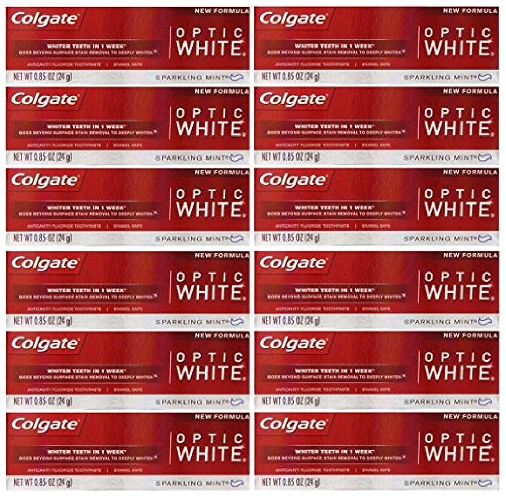 縮れた日曜日どっちでもColgate 12パック - ハミガキ、スパークリングホワイト、スパークリングミント、トラベルサイズ0.85オンスホワイトニングオプティックホワイト歯