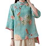 Women Summer 3/4 Sleeve Chinese Blouse Top Traditional Mandarin Collar Ethnic Cotton Linen Qipao Shirt