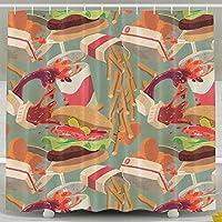 ハンバーガー食品シャワーカーテンAnti Bacterial浴室カーテン、フック付き 60x72 ホワイト HDMEI-#EDiPU6abK74