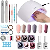 Gel Nail Polish Starter Kit - 6 Colors Gel Polish Set Base Top Coat, 36W LED Nail Dryer Lamp with Full DIY Gel Manicure Nail