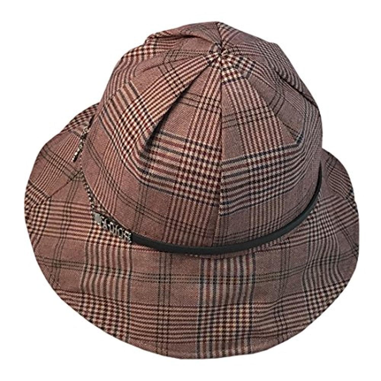 YueLian バケットハット UVカット 紫外線対策 日焼け対策 レディース 行楽 無地 チェック帽子 ハット アウトドア帽子 春 夏 秋 冬 折りたたみ つば広 お出かけ