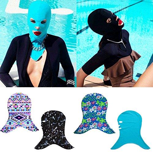 YUKOKOTI フェイスキニ 日焼け防止 UV遮断 男女通用 男 女 海 ビーチ プール 潜水 水泳 泳ぐ スイミング おしゃれ ダイビングキャップ 柄2 黒