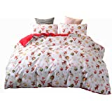 ADASMILE A & S Christmas Deer Printed Duvet Cover Set Twin Size with 1 Sham Santa Claus Pattern Bedding Cover Set Xmas Home D