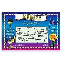 Kansas Stateマップポストカードのセット20identicalはがき。Post Cards with KSマップと状態シンボル。Made In USA。