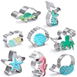 Under The Sea Cookie Cutters Set,8 Pieces Stainless Steel Biscuit Cutters Molds,Seashell,Mermaid Tail,Starfish,Octopus,Seahor