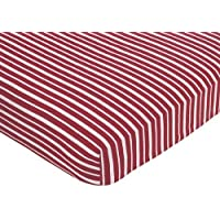 Sweet Jojo Designs Vintage Aviator Fitted Crib Sheet for Baby and Toddler Bedding Sets - Red Stripe Print [並行輸入品]