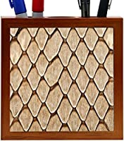 Rikki Knight Photo of Snake Honeycomb Leather Texture Design 5-Inch Tile Wooden Tile Pen Holder (RK-PH9263) [並行輸入品]